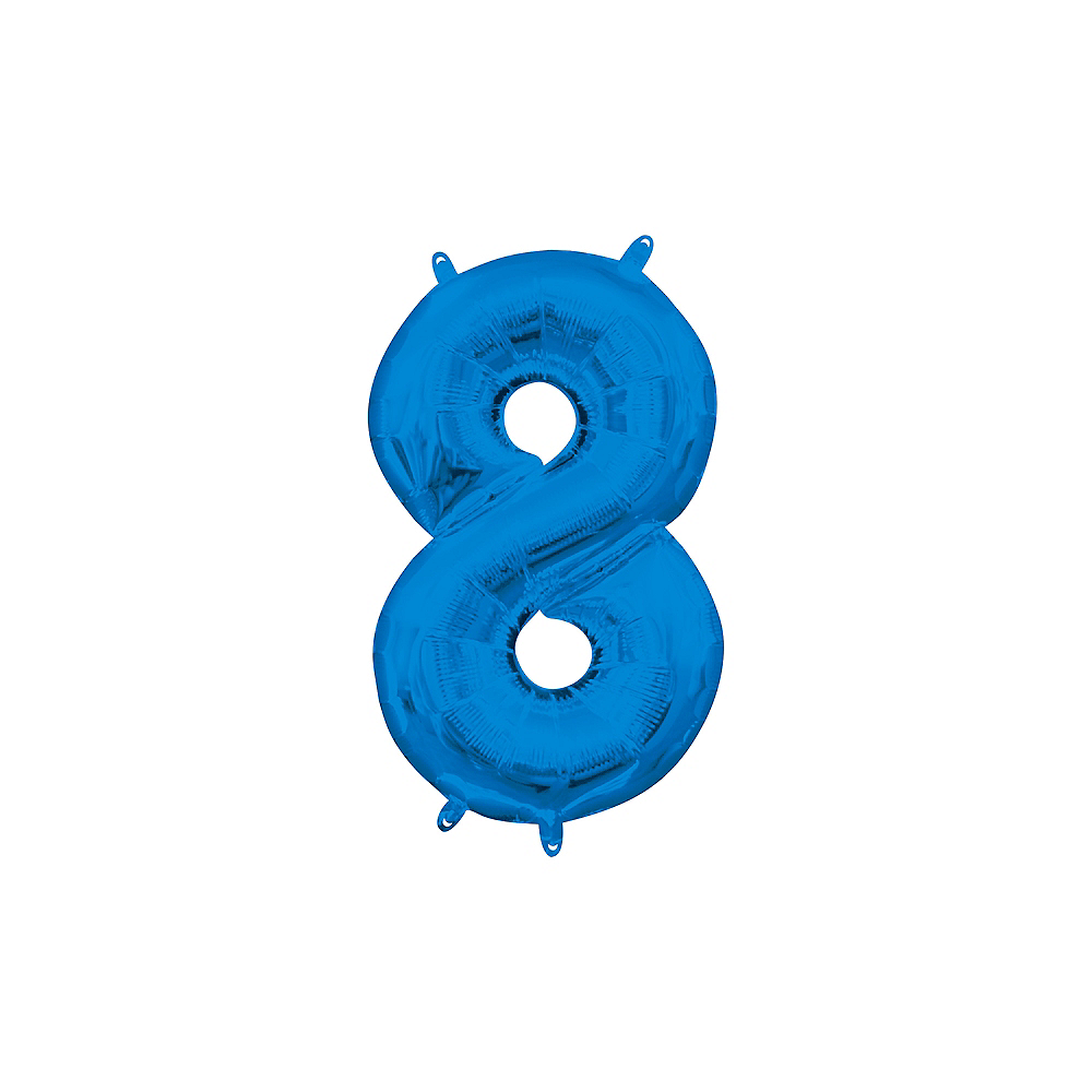 13in Air-Filled Blue Number Balloon (8) Image #1