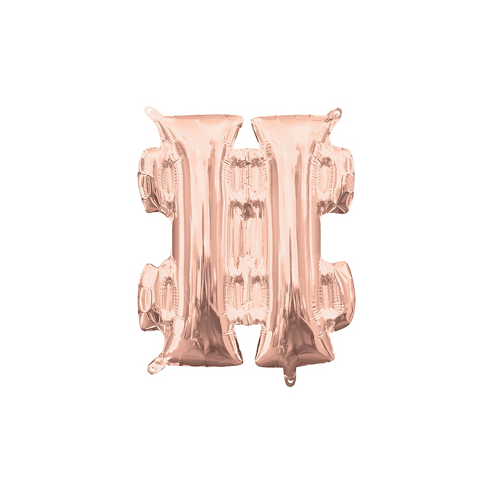Air-Filled Rose Gold Hashtag Balloon, 13in Image #1