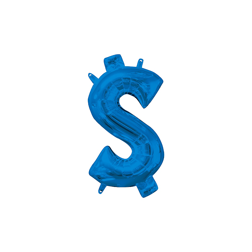 Air-Filled Blue Money Symbol Balloon, 17in Image #1