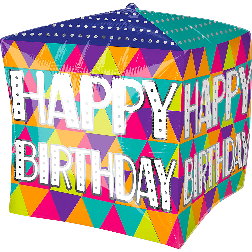 Nav Item for Colorful Triangles Birthday Balloon - Cubez Image #1