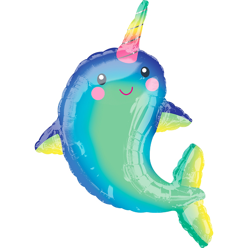 Giant Happy Narwhal Balloon Image #1