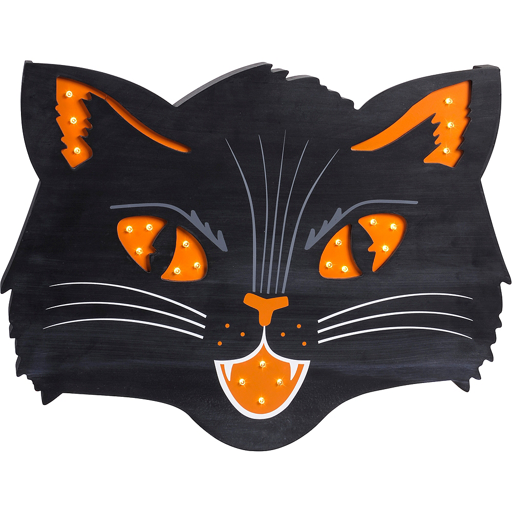 Light Up Black Cat Sign