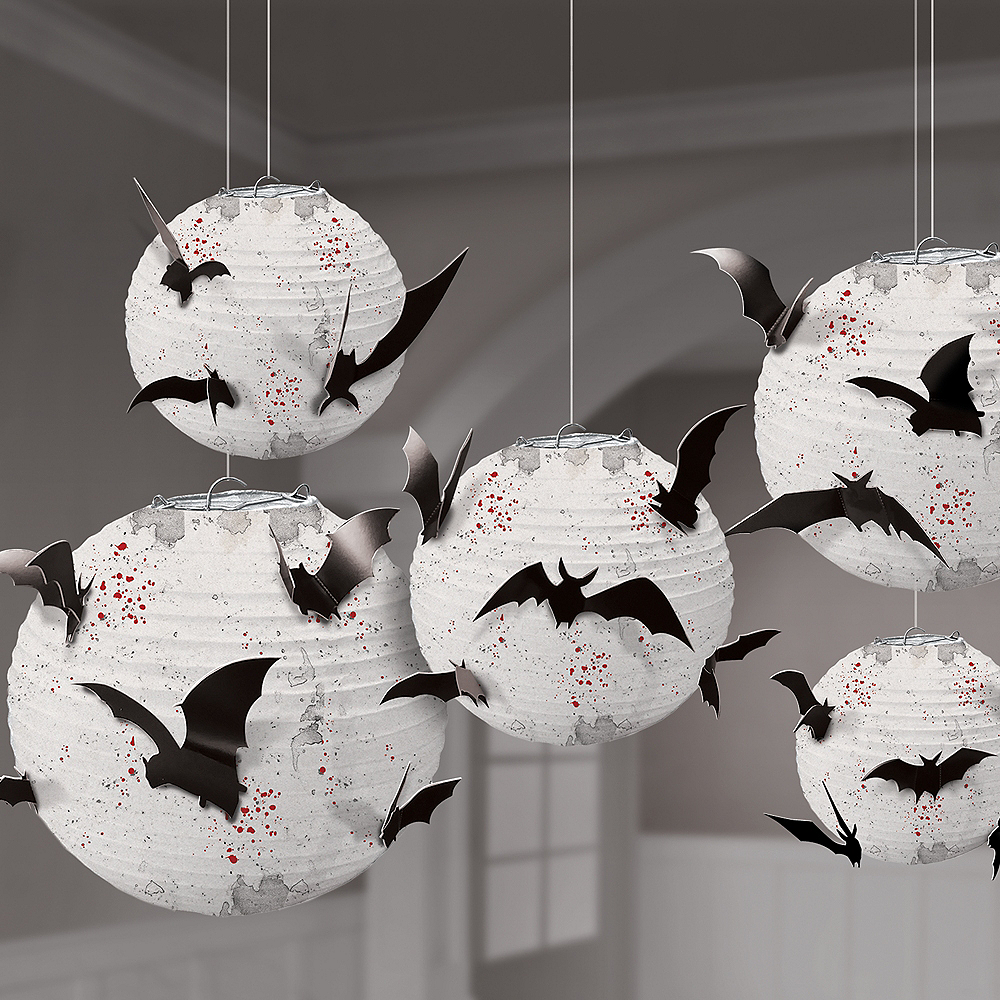 Dark Manor Bat Paper Lanterns 5-ct