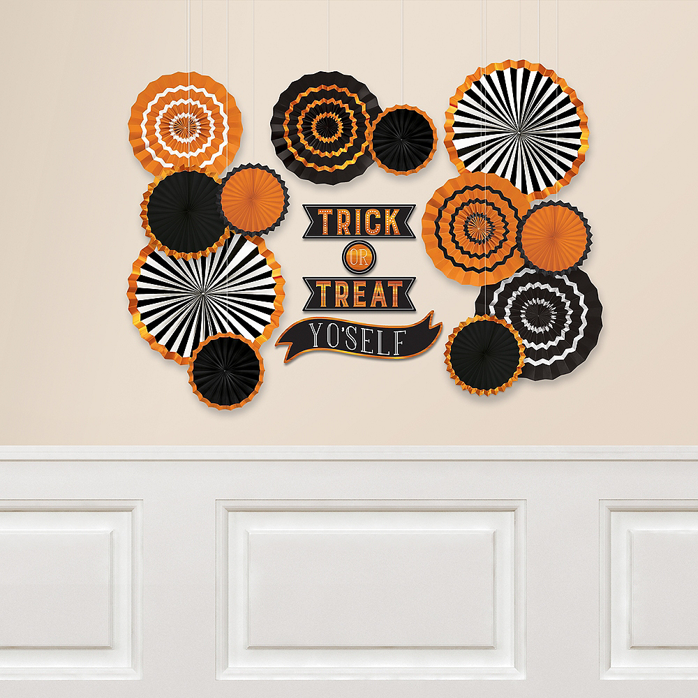Nav Item for Hallows' Eve Paper Fan Decorating Kit 16pc Image #1