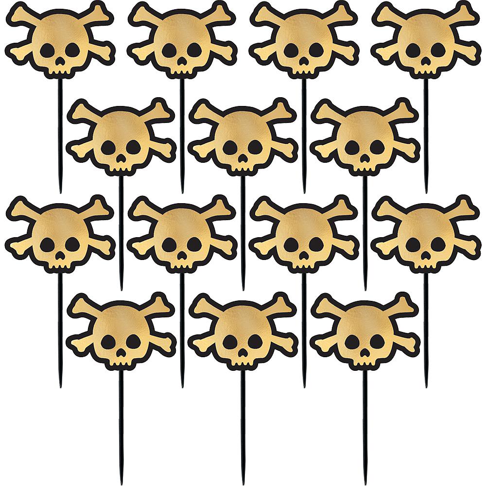 Black & Metallic Gold Skull Cupcake Picks 36ct Image #1