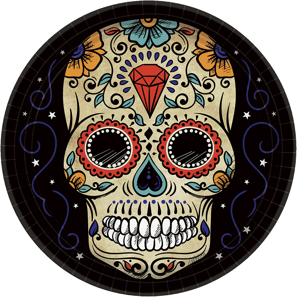 Sugar Skull Dinner Plates 18ct Image #1