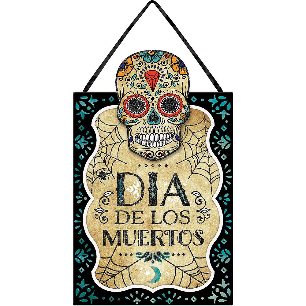 Glitter Sugar Skull Dia De Los Muertos Sign Image #1