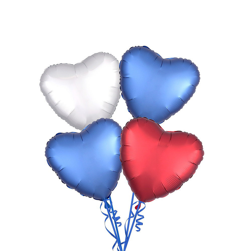 Red White Blue Satin Heart Balloon Kit Party City