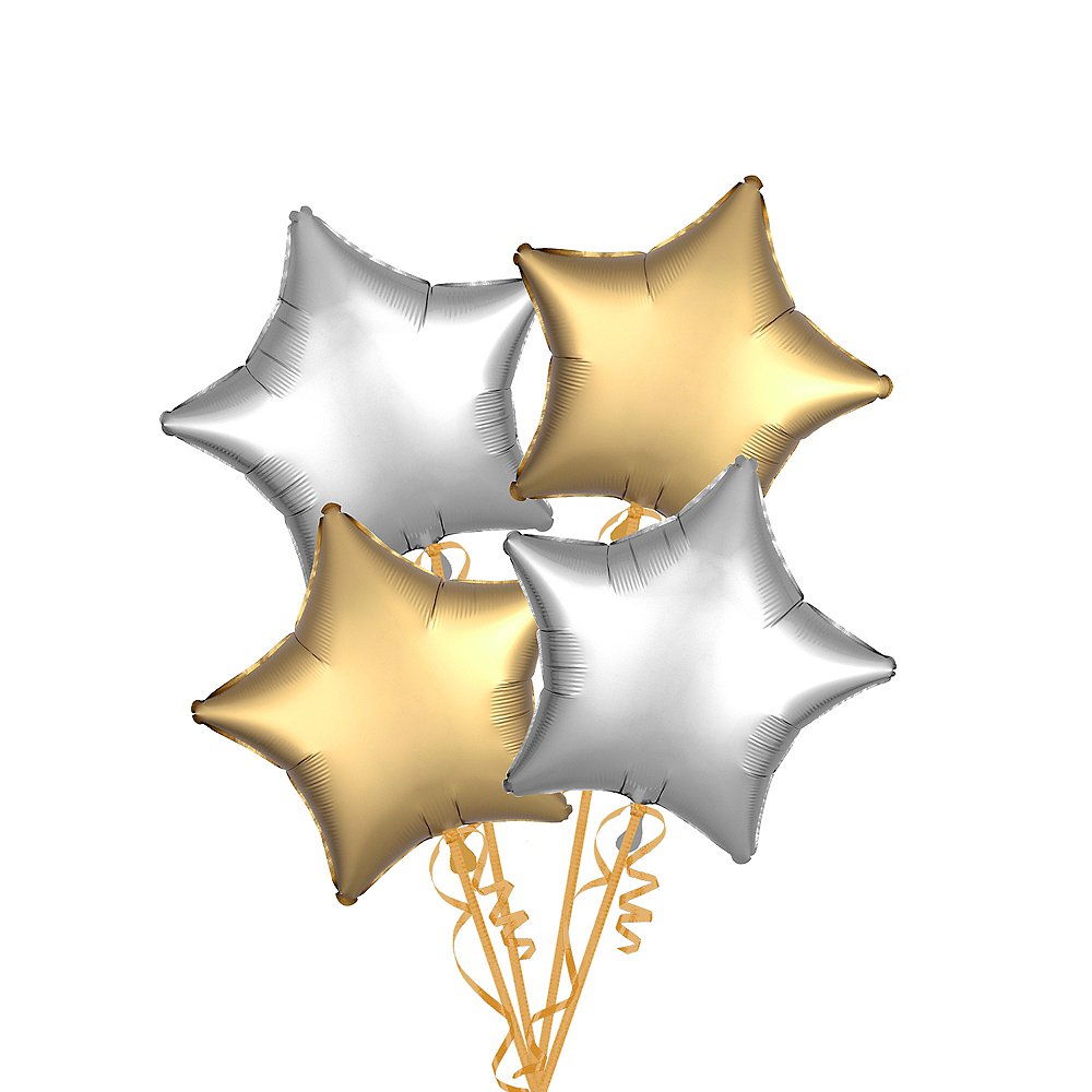 Gold & Silver Satin Star Balloon Kit Image #1