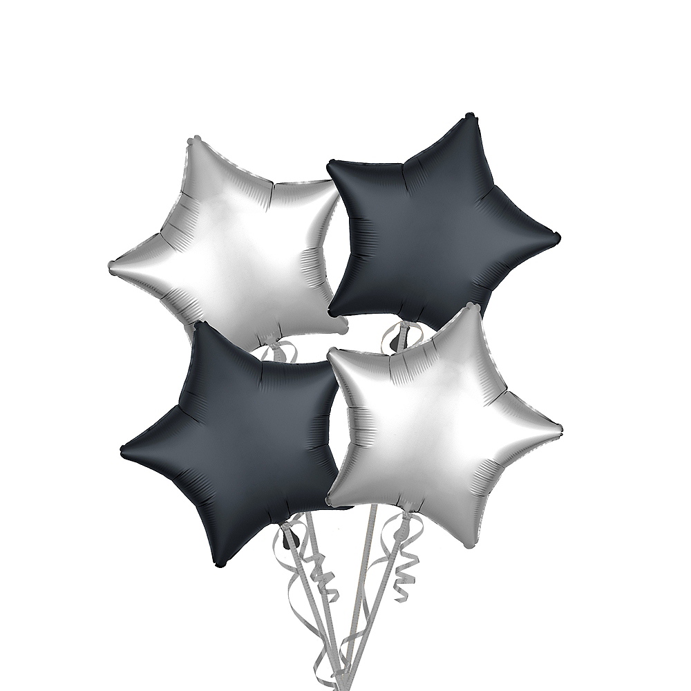 Black & Silver Satin Star Balloon Kit Image #1