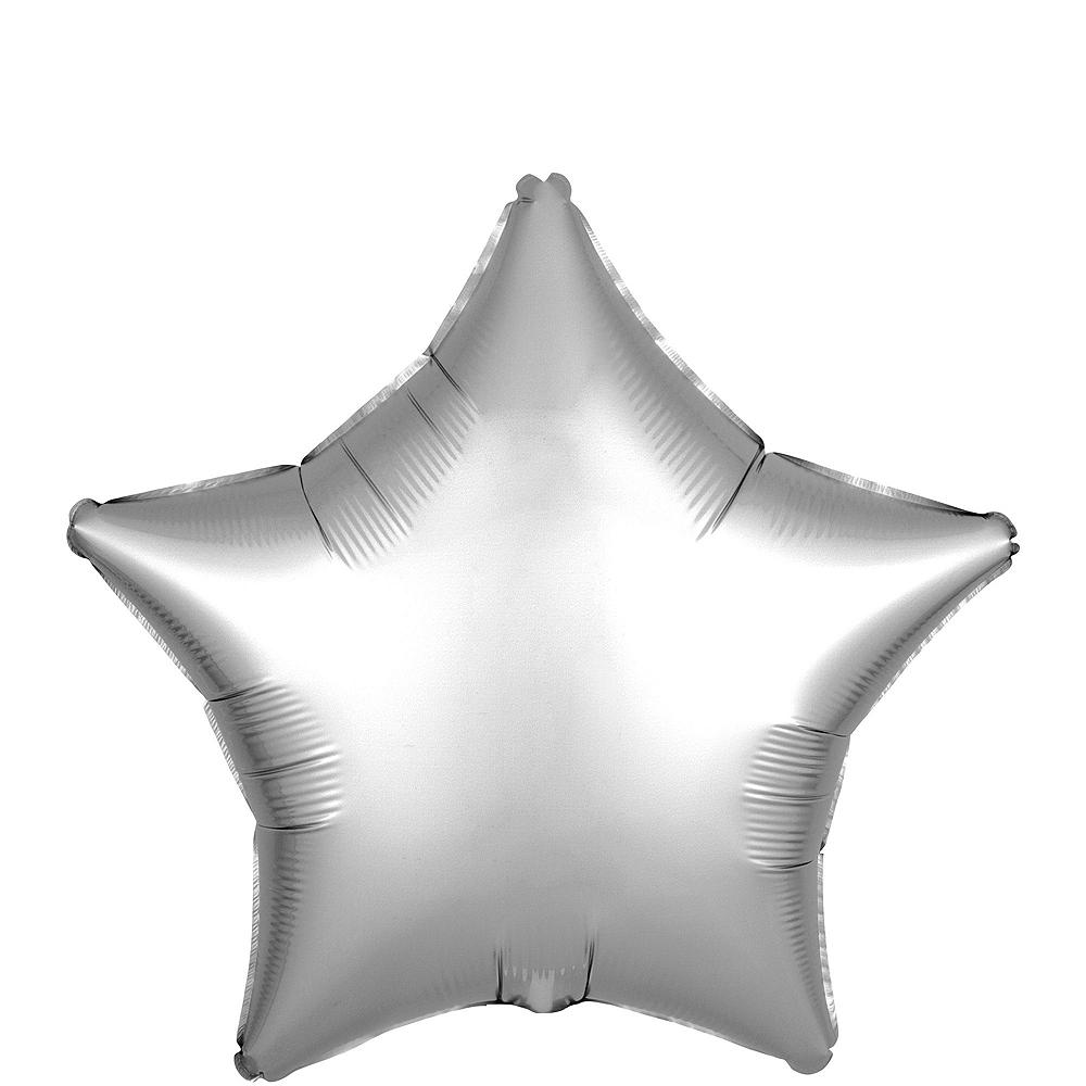 Black & Silver Satin Star Balloon Kit Image #3