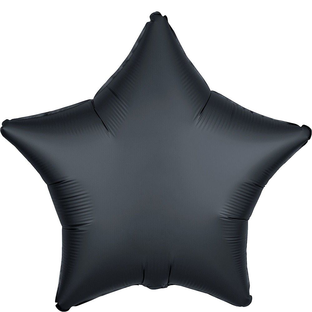 Black & Silver Satin Star Balloon Kit Image #4