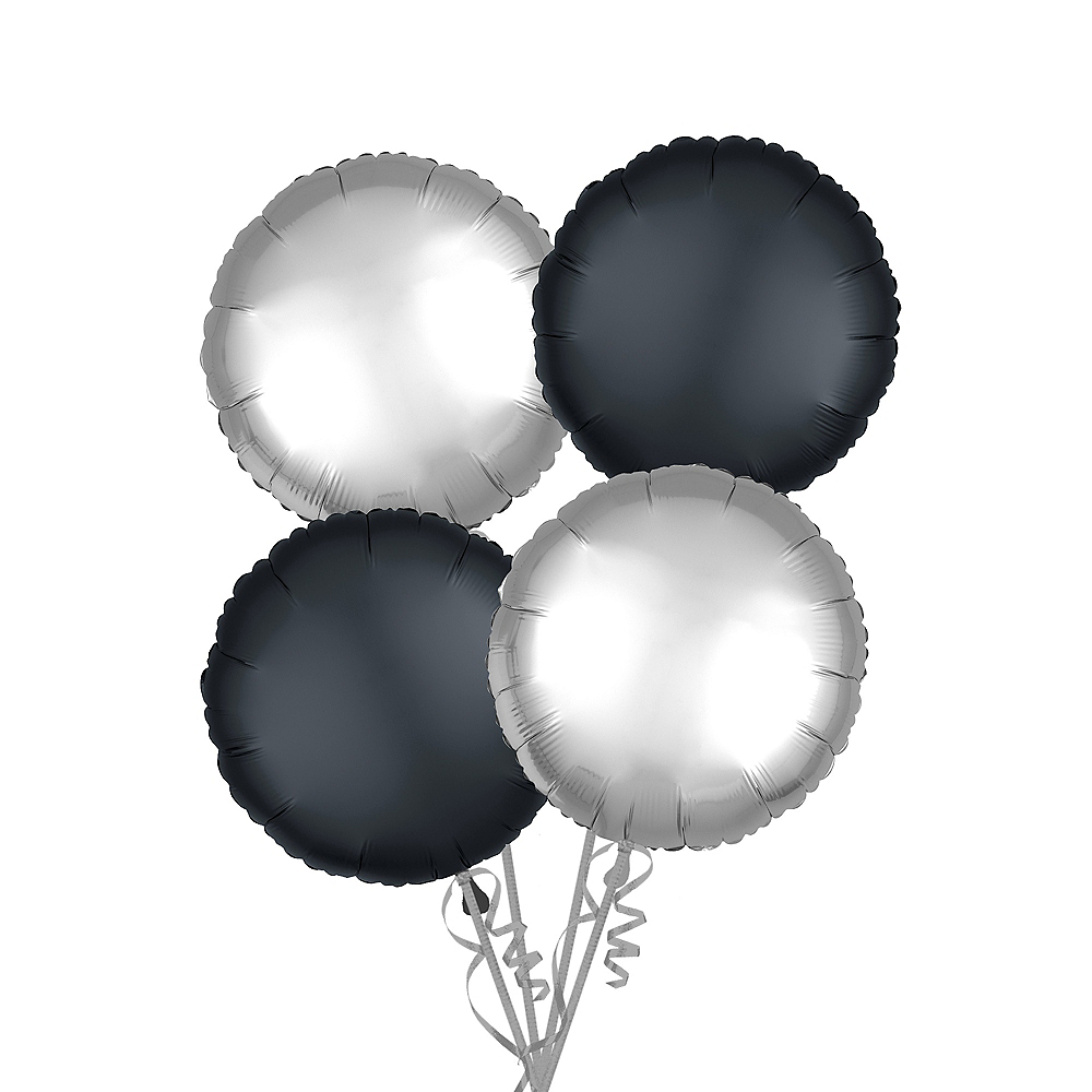 Black & Silver Satin Round Balloon Kit Image #1