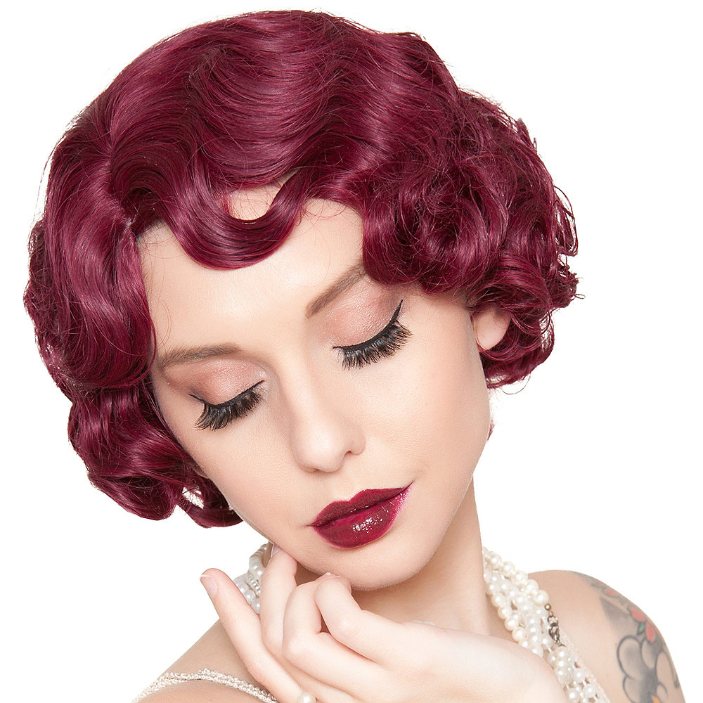 Burgundy Finger Wave Flapper Wig Image #1