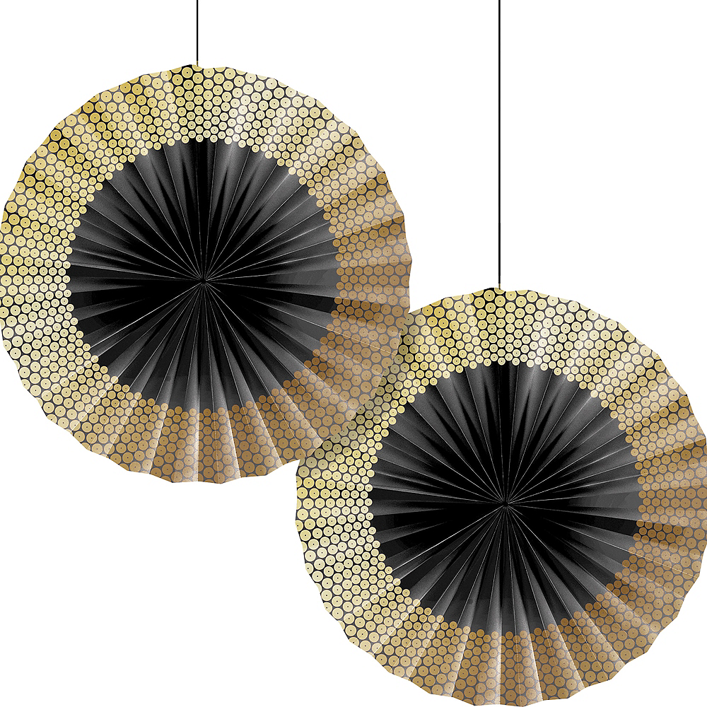 Black & Gold Sequin Paper Fan Decorations 2ct Image #1