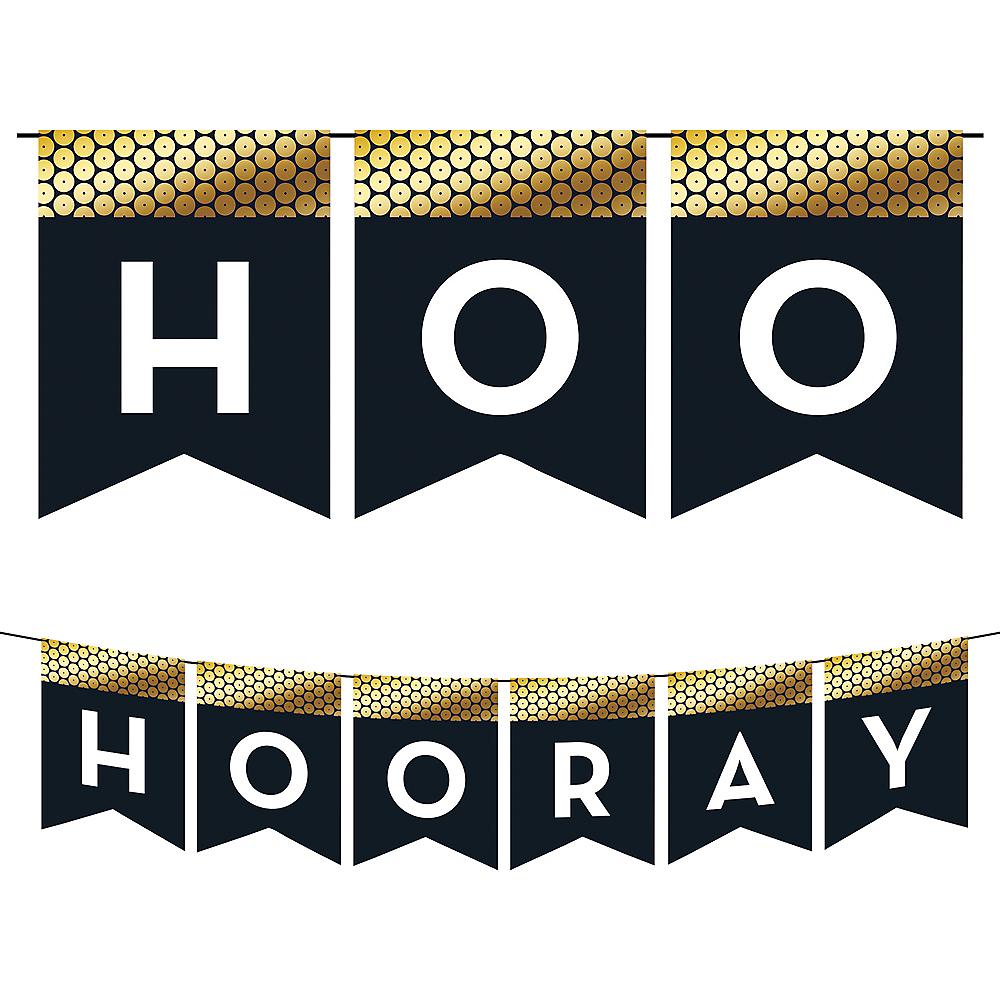 Black & Gold Sequin Hooray Pennant Banner Image #1