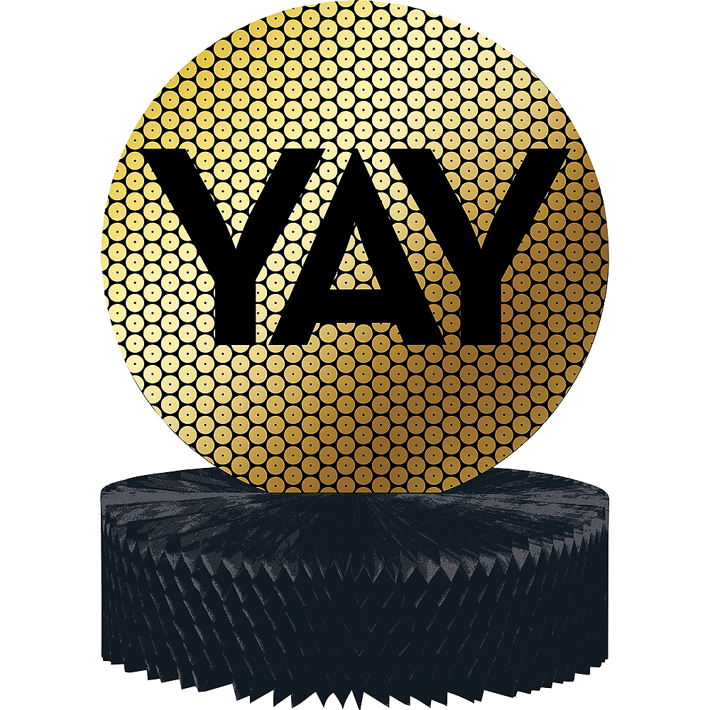 Black & Gold Sequin Honeycomb Centerpiece Image #1