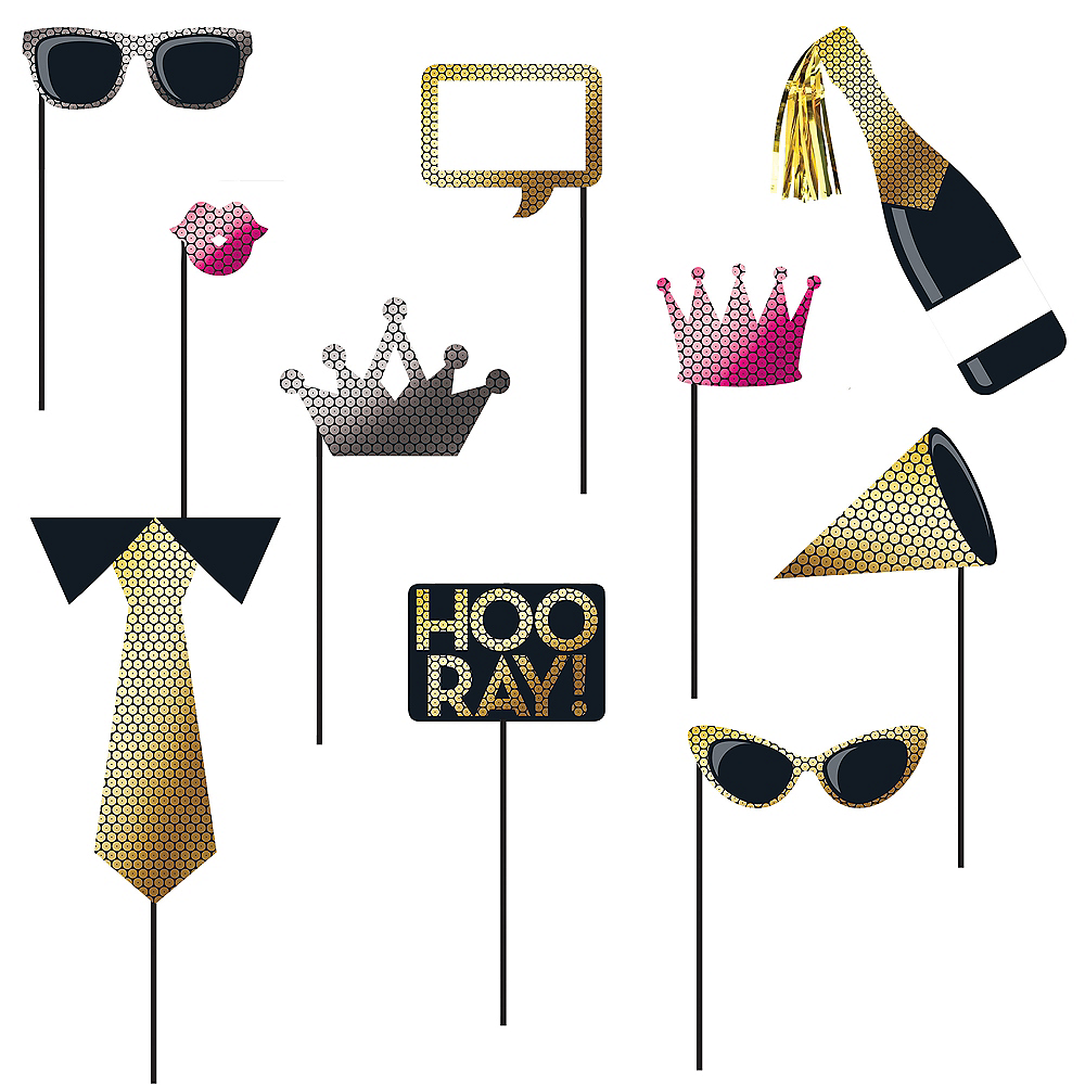 Black & Gold Sequin Photo Booth Props 10ct Image #1