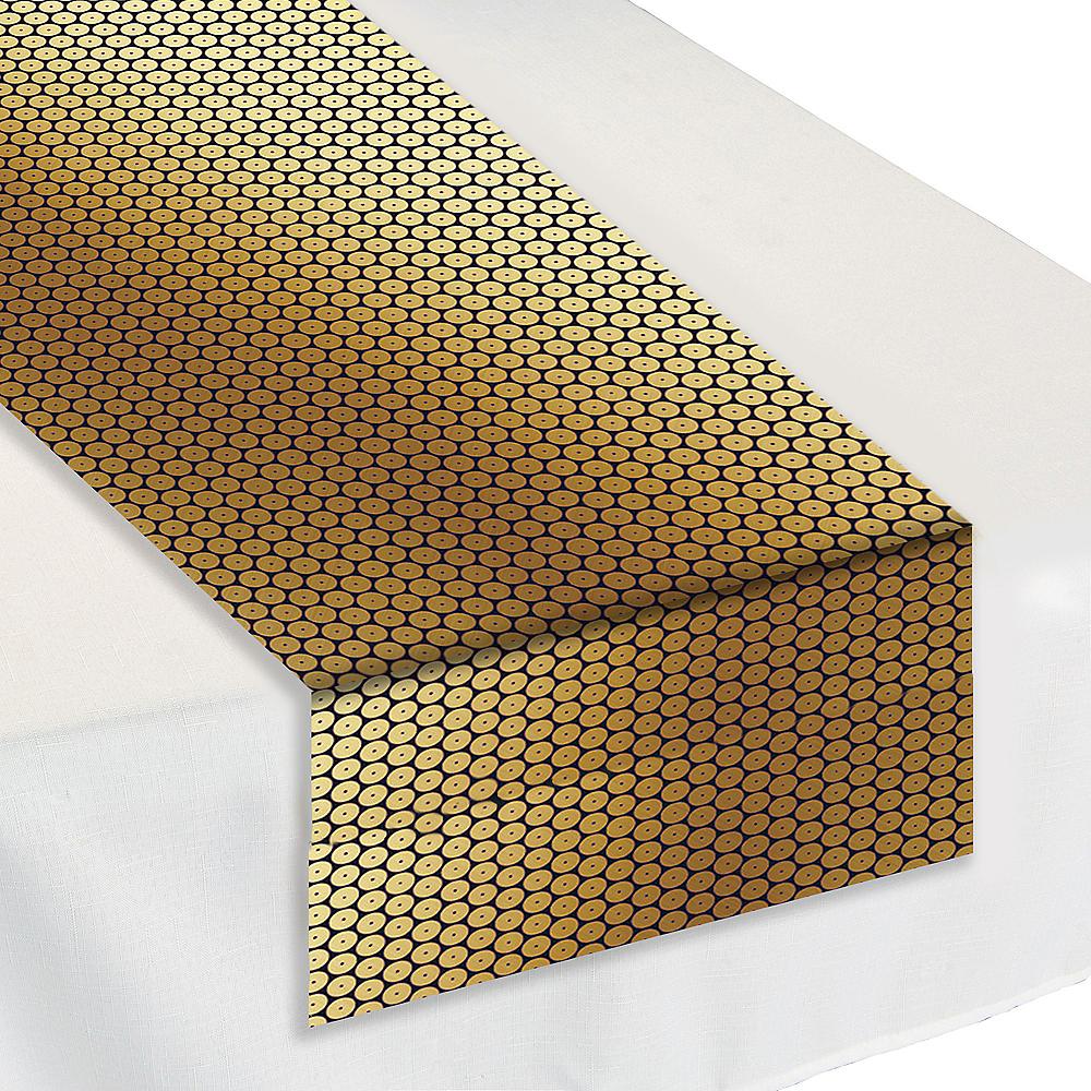 Black & Gold Sequin Table Runner Image #1