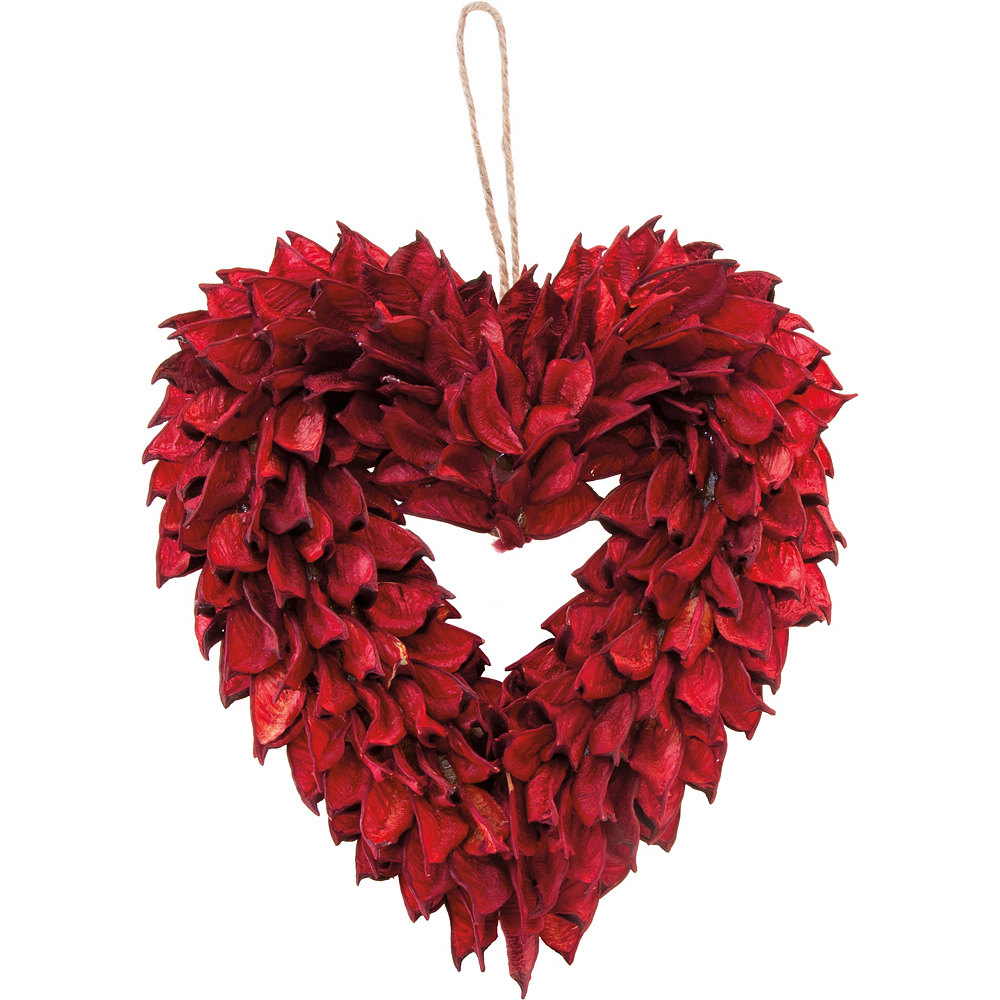Red Corn Husk Heart Wreath Image #1