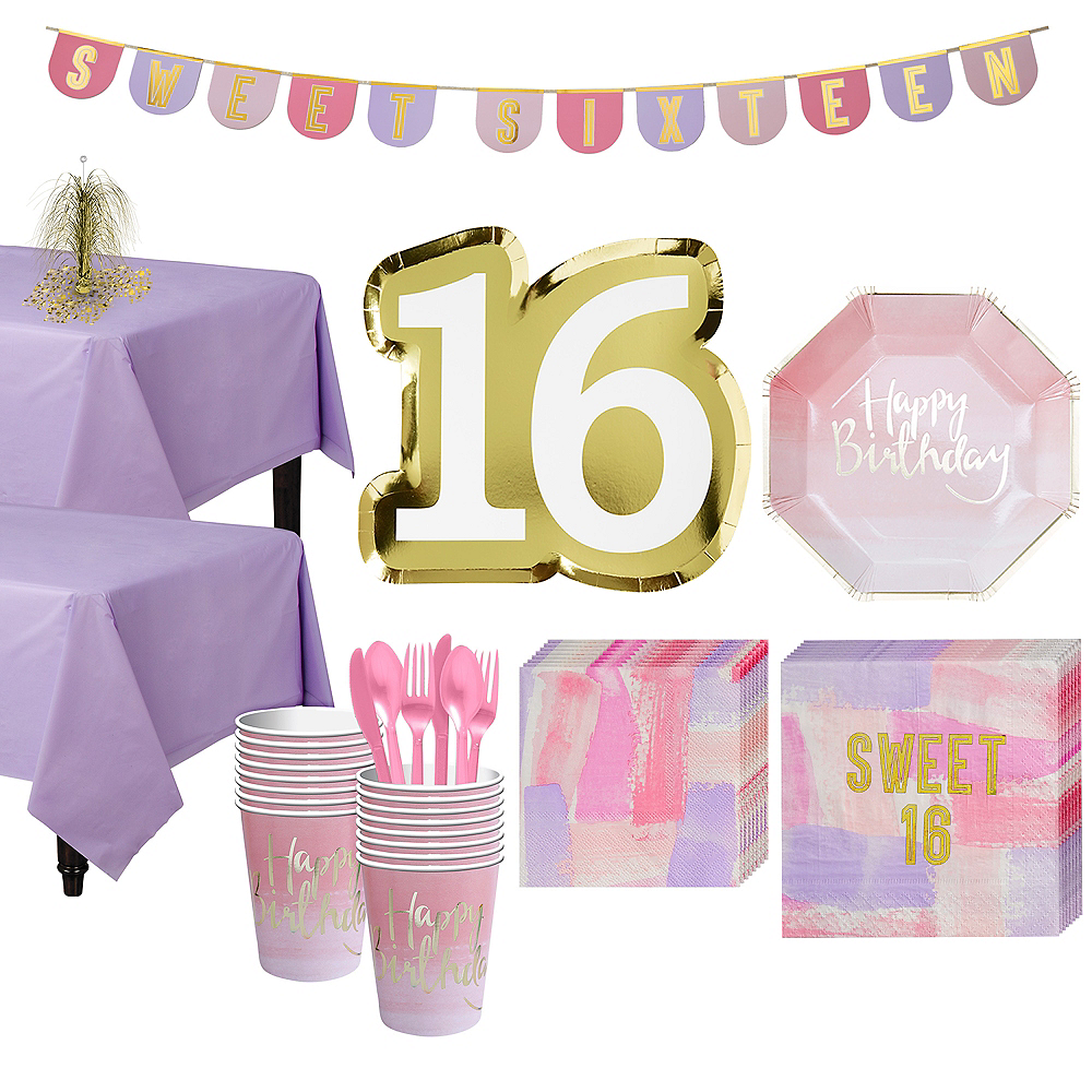 Metallic Gold Sweet 16 Party Kit For 16 Guests