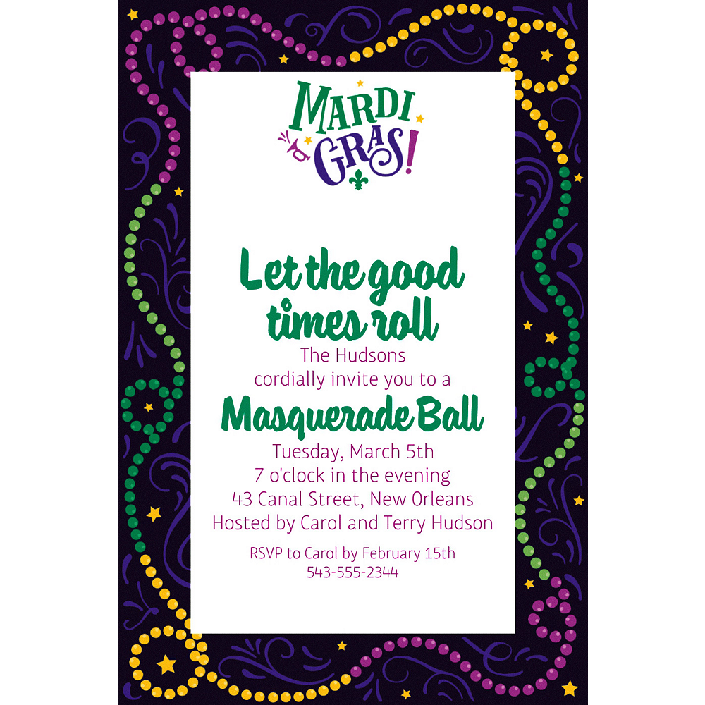 Custom Good Times Mardi Gras Invitations Image #1