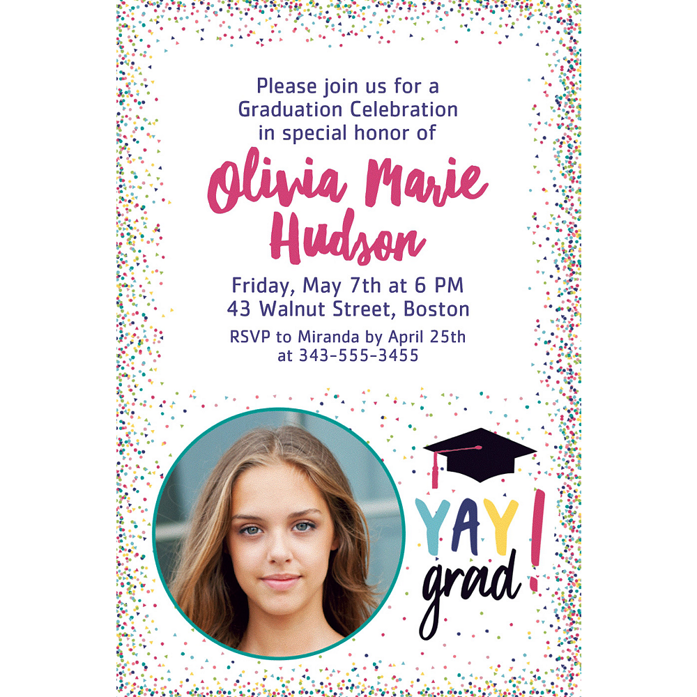 Custom Yay Grad Photo Invitations Image #1