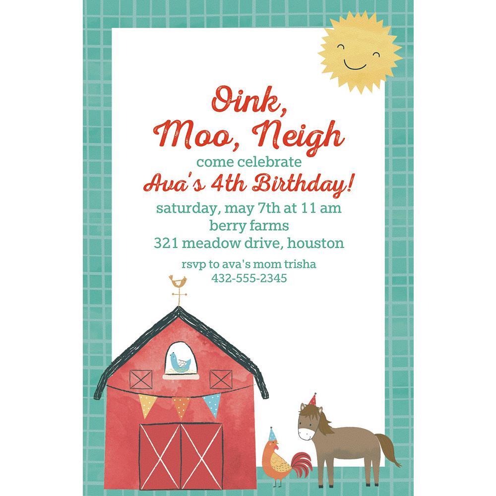 Custom Barnyard Birthday Invitations