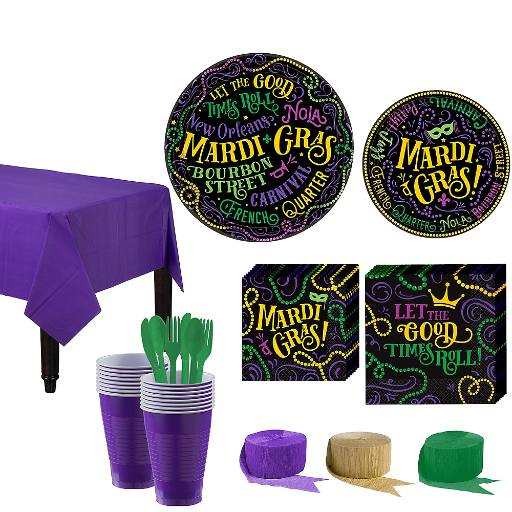 Good Times Mardi Gras Tableware Kit for 60 Guests Image #1