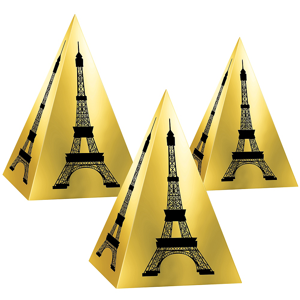 Metallic Gold Eiffel Tower Favor Boxes 3ct Image #1