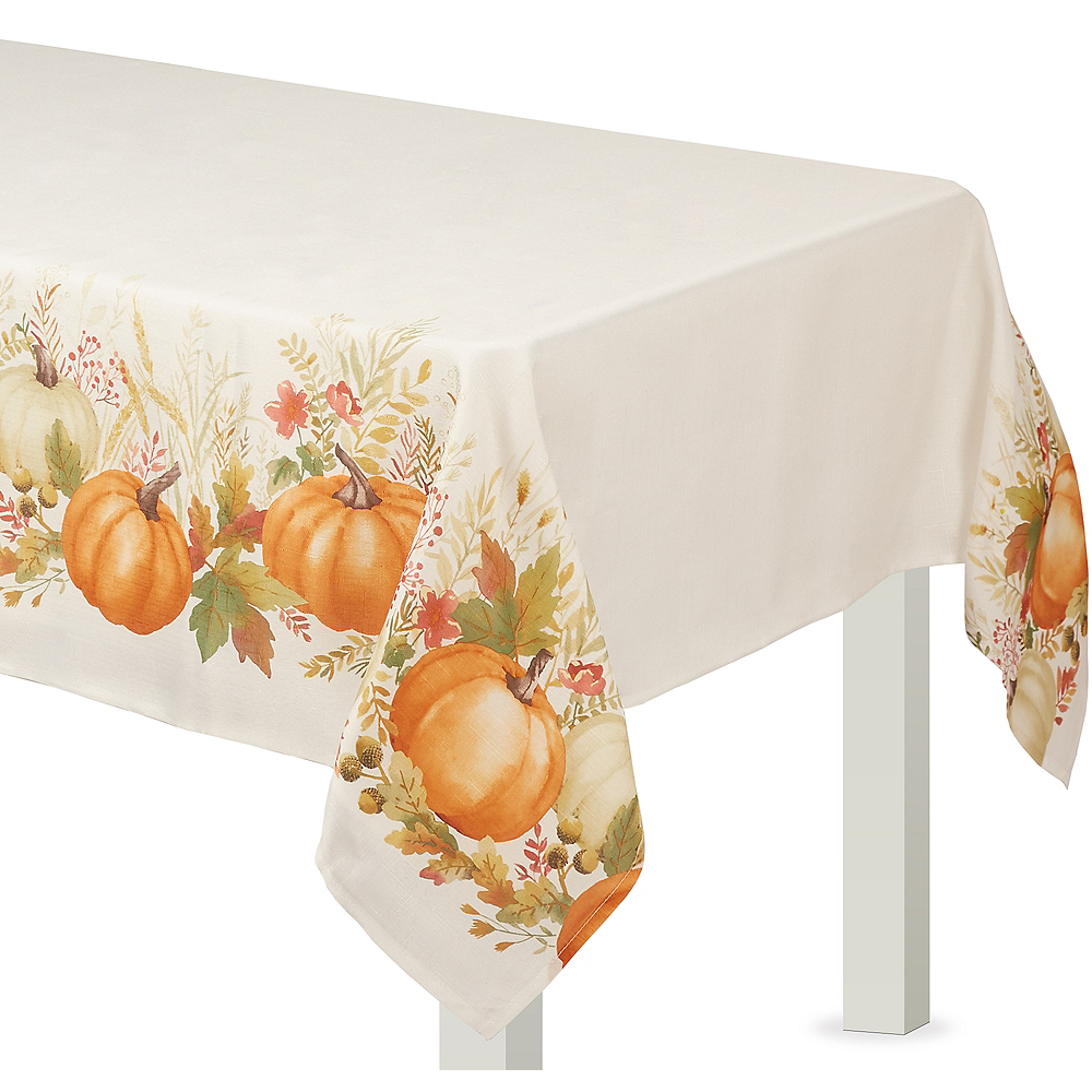 Burlap Traditional Pumpkin Table Cover Image #1