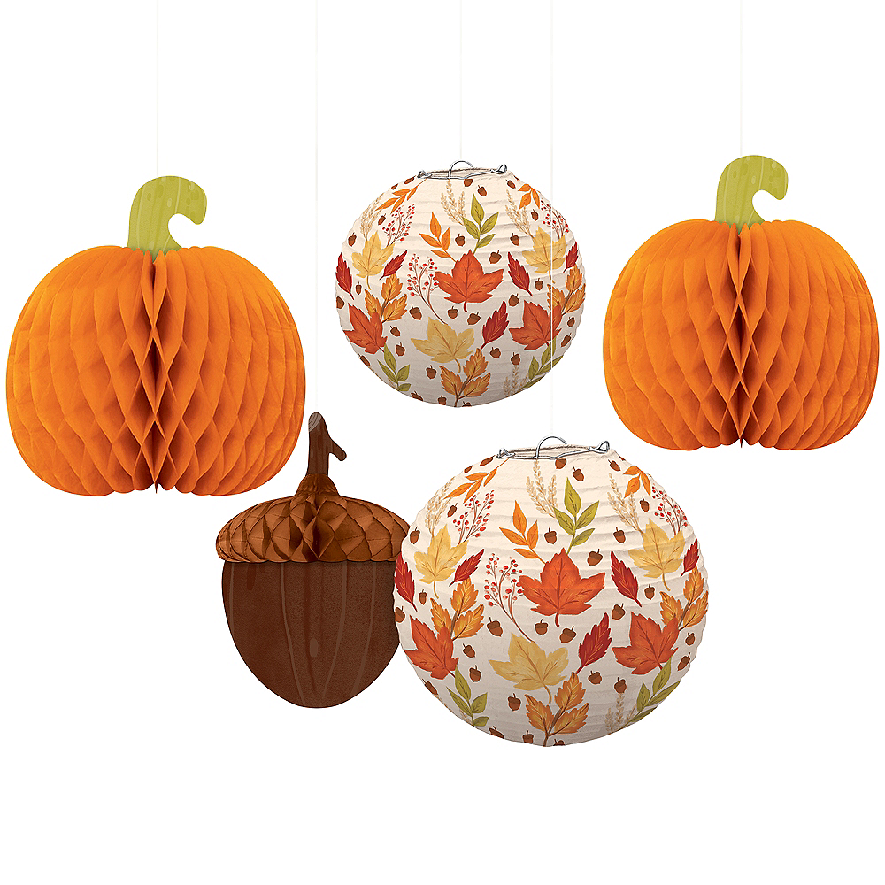 Harvest Fall Honeycomb Decorations & Paper Lanterns 5ct Image #1