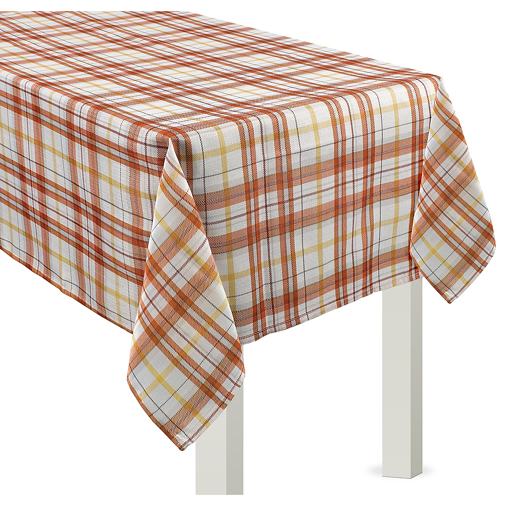 Fall Harvest Plaid Fabric Table Cover  Image #1