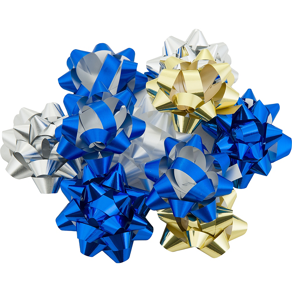 Blue, Gold & Silver Gift Bows 12ct Image #1