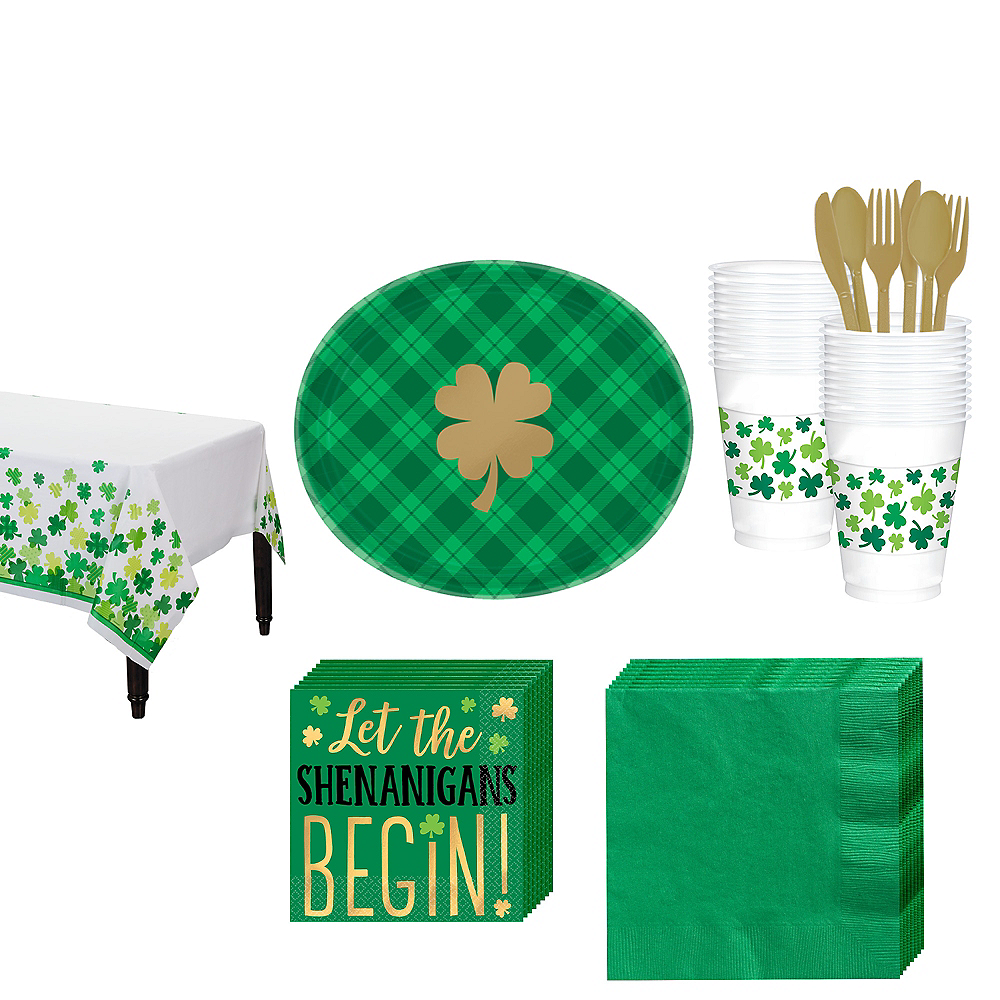 St. Patrick's Day Plaid Tableware Kit for 18 Guests Image #1