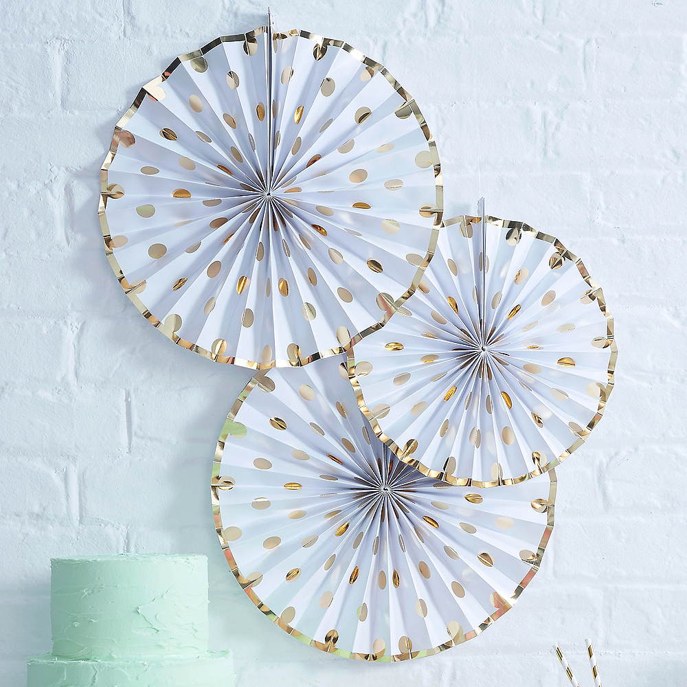 Ginger Ray Metallic Gold Dot & White Paper Fan Decorations 3ct Image #1