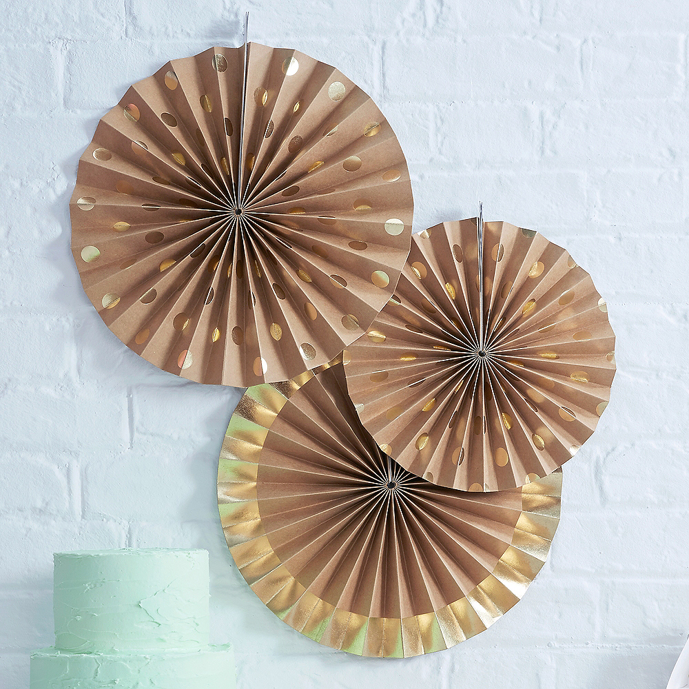 Ginger Ray Metallic Gold Kraft Paper Fan Decorations 3ct Image #1