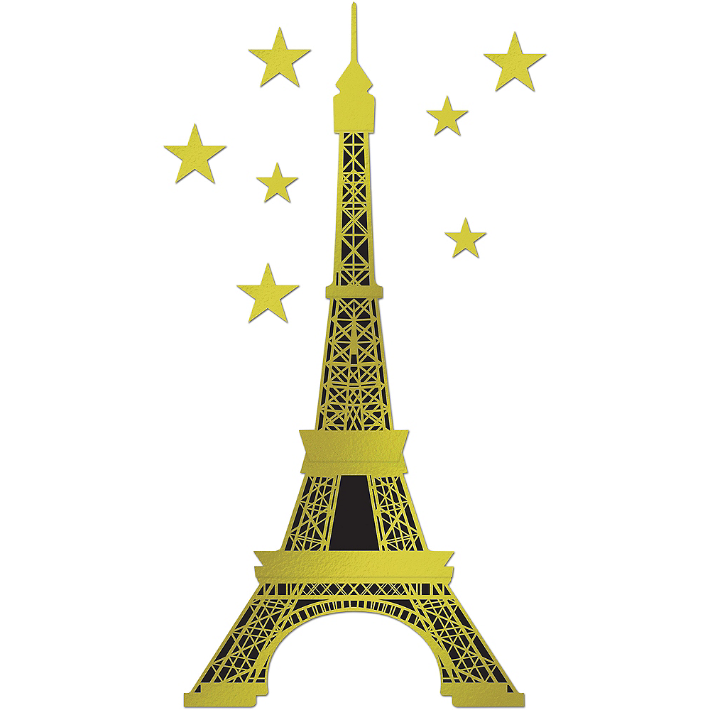 Jointed Gold Eiffel Tower Cutout Set 8pc Image #1