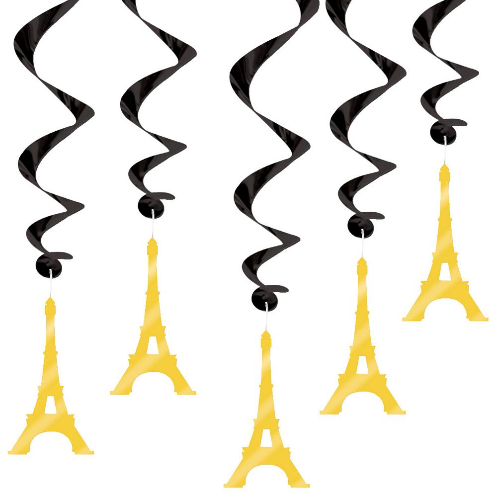 Gold & Black Eiffel Tower Swirl Decorations 5ct Image #1