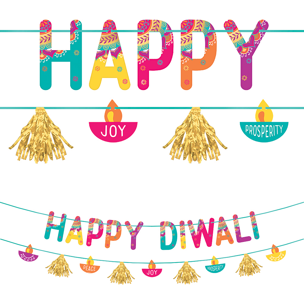 Metallic Gold Happy Diwali Letter Banner with Cutout Banner Image #1