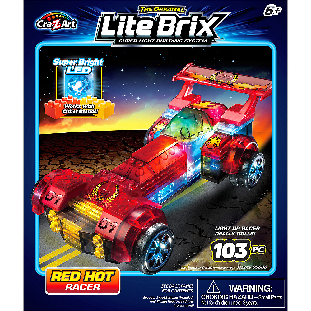 Lite Brix Light-Up Red Hot Racer by Cra-Z-Art 101pc Image #1