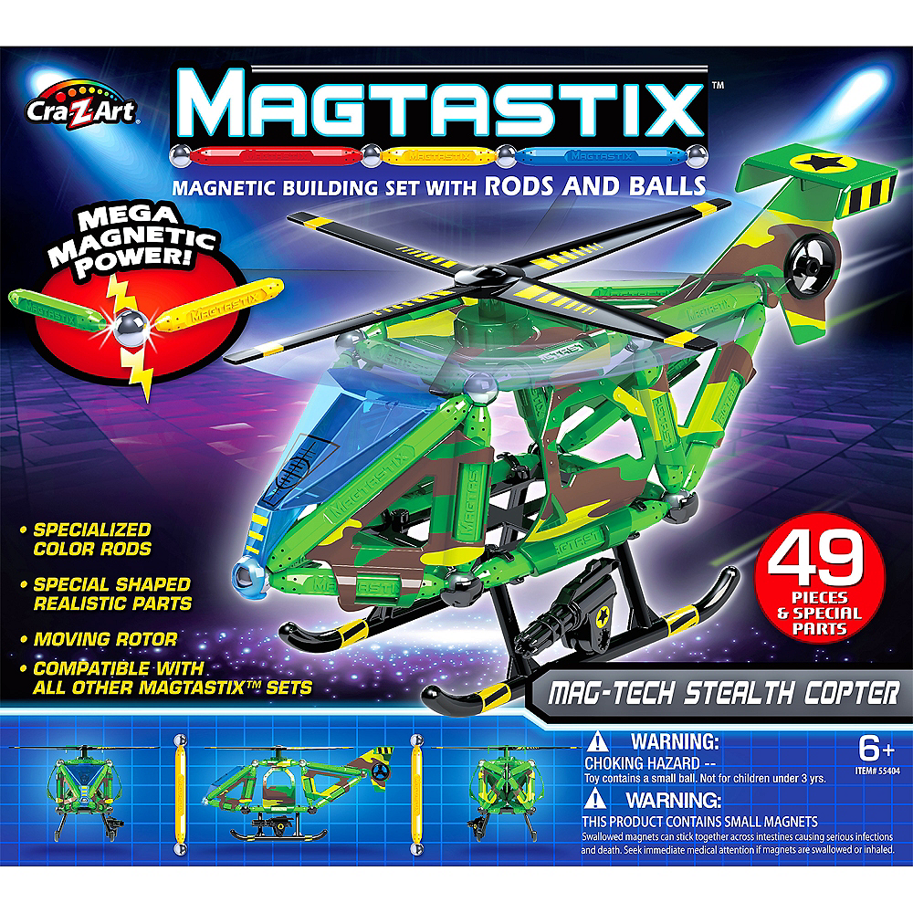 Cra-Z-Art Magtastix Mag-Tech Stealth Copter 49pc Image #1