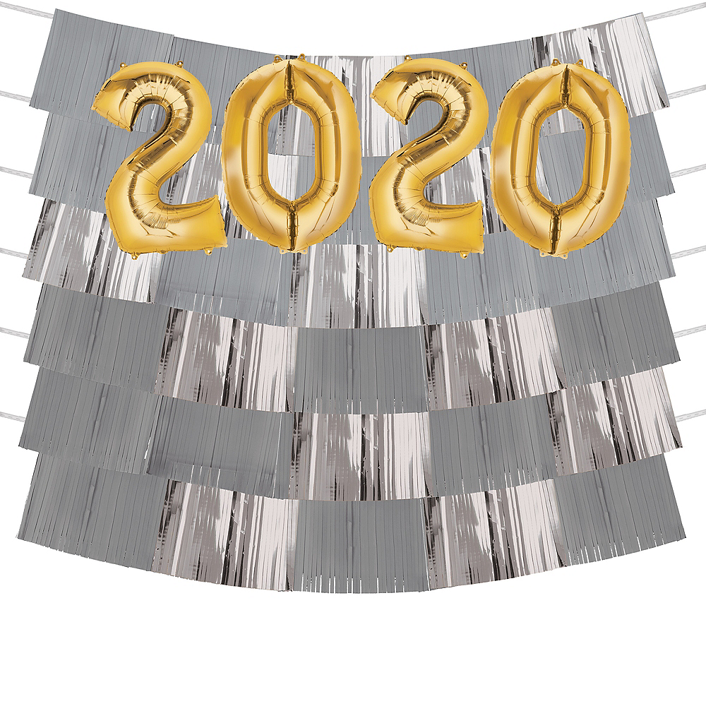 Giant Gold 2019 Number Balloon Kit with Gray & Silver Backdrop Image #1