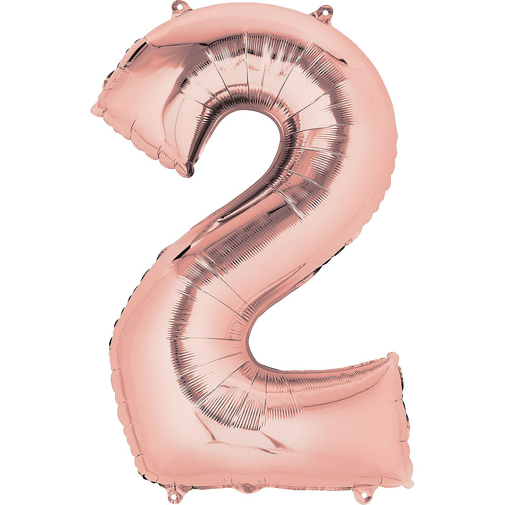 Giant Rose Gold 2019 Number Balloon Kit with Pastel & Gold Backdrop Image #4