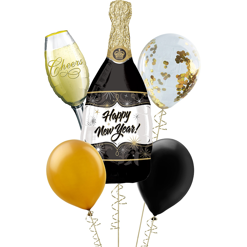 Champagne Happy New Year Balloon with Black & Gold Balloons Kit Image #1