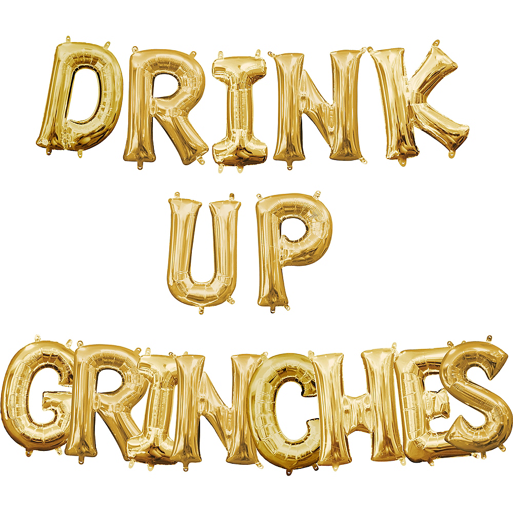 Air-Filled Gold Drink Up Grinches Letter Balloon Kit Image #1