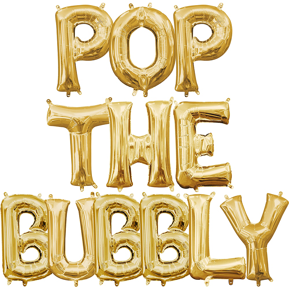 Air-Filled Gold Pop The Bubbly Letter Balloon Kit Image #1