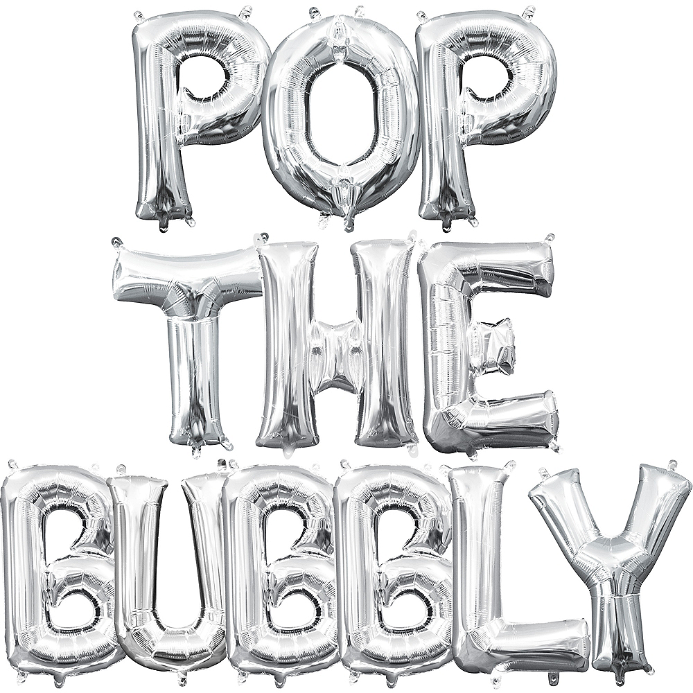 Air-Filled Silver Pop The Bubbly Letter Balloon Kit Image #1