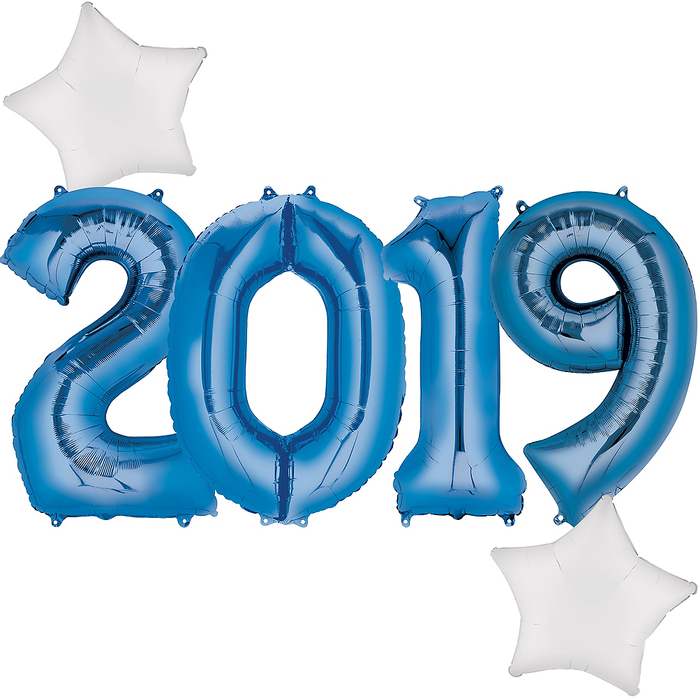 Giant Royal Blue 2019 Star Balloon Kit Image #1