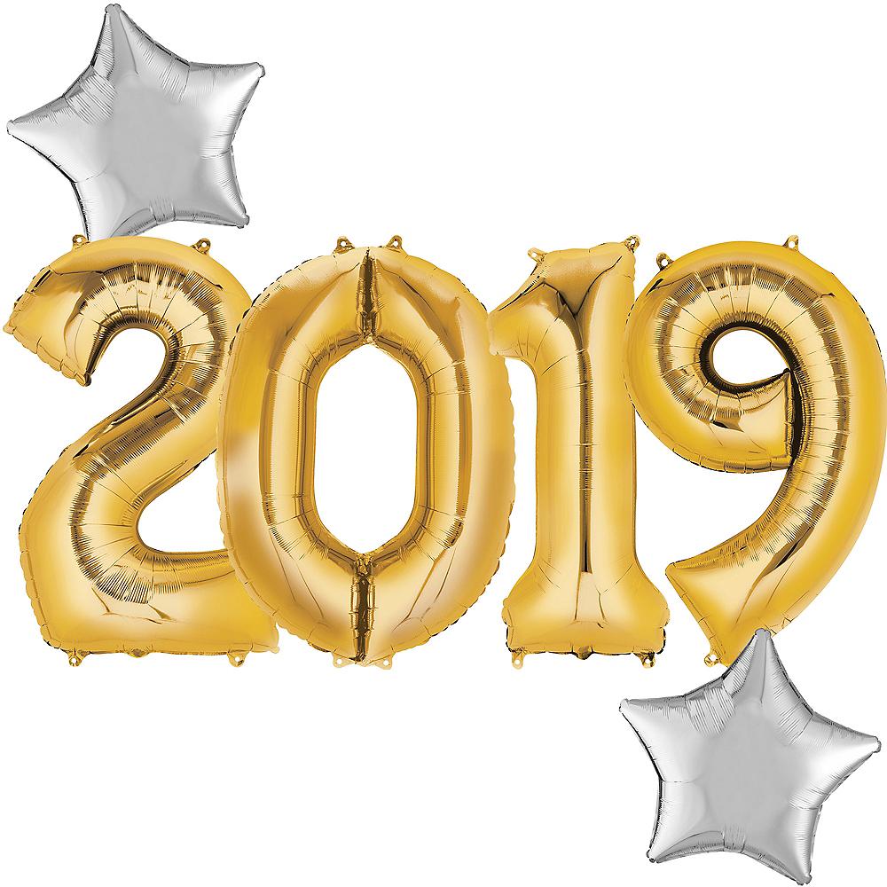 Giant Gold 2019 Star Balloon Kit Image #1